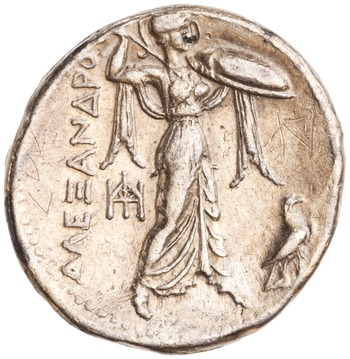 Reverse of a Ptolemaic (310-285 BCE) silver tetradrachm from Alexandria with monogram. Photo via the American Numismatic Society.
