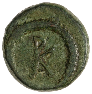 Reverse of a bronze coin of Rhoemetalces I with his monogram, dating to 11 BCE-12 CE. Photo via the American Numismatic Society.