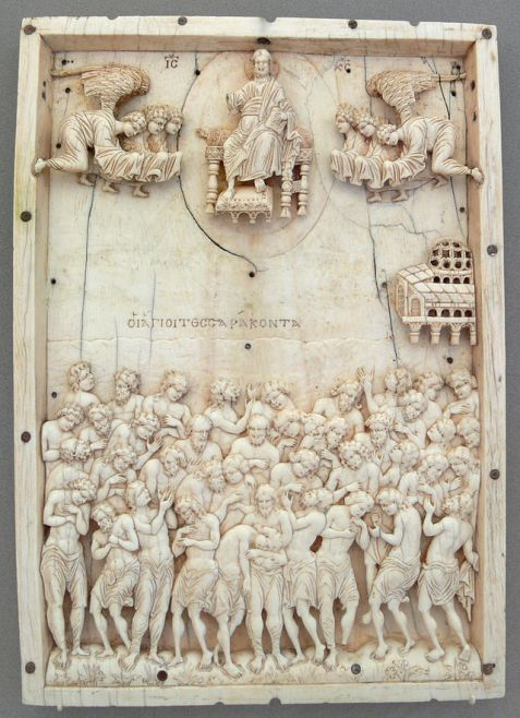 Ivory relief of the story of the Forty Martyrs of Sebaste, who were soldiers forced to stand naked on a frozen pond in 320 CE.  Constantinople, 10th century AD. Museum für Byzantinische Kunst (Inv. no. 574; acquired in 1828; Bartoldi collection), Bode-Museum, Berlin.