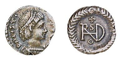 """Theodoric (491-526), R Quarter-siliqua in name of Justin I, Rome, diademed, draped and cuirassed bust right, rev. monogram of Theodoric within wreath (MIB 49), almost extremely fine"" -Christie's"