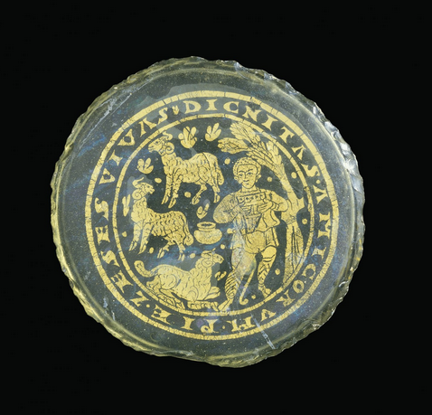 Glass roundel (300-399 CE) with shepherd and flock from the Corning Museum of Glass.