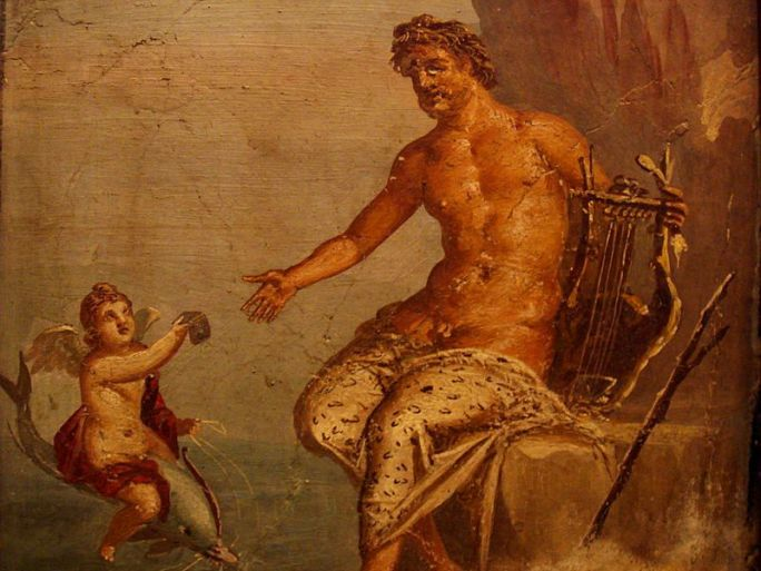 Polyphemus receives a love-letter from Galatea, a 1st-century AD fresco from Pompeii. Via Wikimedia Commons.