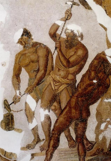 Cyclopes forging a thunderbolt for Iuppiter, from Book VIII of the Aeneid (Thugga, Baths of the Cyclopes, 4th c. CE).