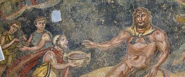 A 4th c. depiction of Polyphemus from the Villa del Casale, Piazza Armerina, Sicily.