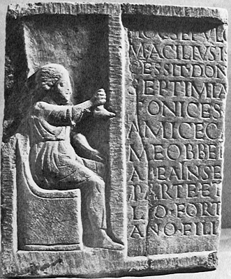 Relief of Septimia Stratonice, a shoemaker, from Ostia. Picture via Ann Raia.