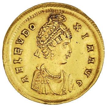 Gold Solidus depicting the Hand of God and Aelia Eudoxia. Constantinople, 395 - 404 CE (1977.158.968). Via the American Numismatic Society.