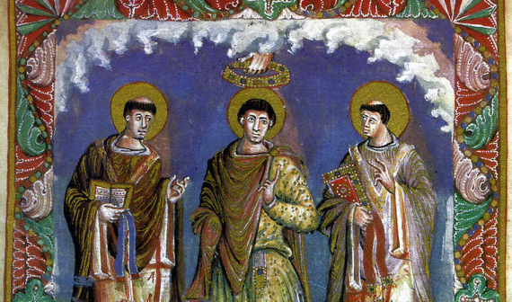 A Frankish king (center), like Charlemagne, depicted in the Sacramentary of Charles the Bald (c. 870 CE).