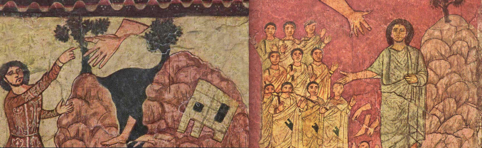 Paintings from the Ezekiel Cycle in the mid 3rd c. CE Synagogue at Dura Europos.