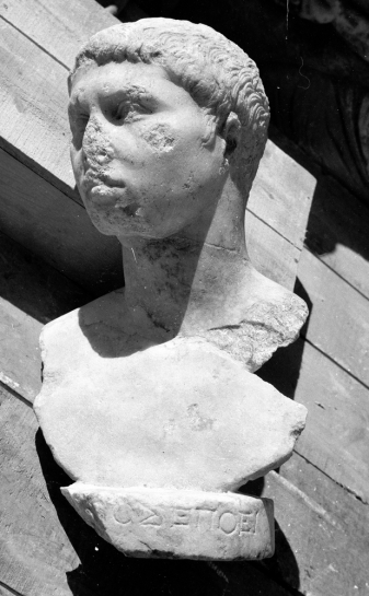 Bust of a boy (1st c. CE) likely noting that Zenon made it. Picture via the Inscriptions of Aphrodisias Project.