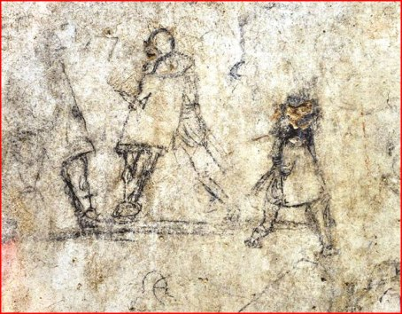 2nd-4th c. graffito from the agora at Izmir showing two gladiators and a young boy urinating on the street.