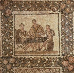 A 3rd c. CE mosaic of men playing on a tabula (El Djem, Tunisia).