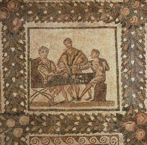 A 3rd c. CE mosaic of men playing on a tabula (El Djem, Tunisia).