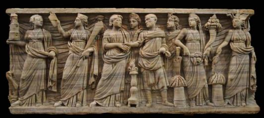 Depiction of an elite marriage scene with personifications to the left (Portus, Annona) and the right (the Senate, Abundantia, Africa) wearing the stola and Herculean knot of brides. (Palazzo Massimo alle Terme, Museo Nazionale Romano)