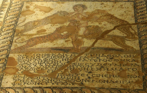 "Mosaic from Kefalonia (3rd c. CE) depicting Phthonos (the envious), and an inscription ""which mentions  the character of those who suffer envy, unable to endure the prosperity of others, and its disastrous consequences""  Image from: http://archaeologynewsnetwork.blogspot.com/2014/12/images-in-roman-mosaics-meant-to-dispel.html#.Va5flBNVgvQ"