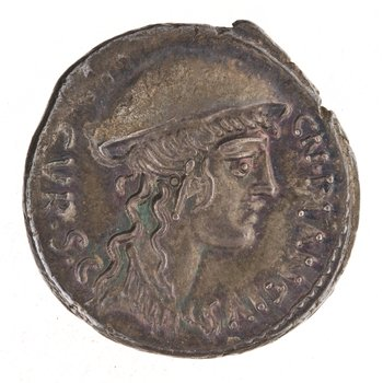 Coin struck in 55 BCE and issued by then-aedile Gnaeus Plancius, an accused rapist (Image via the ANS).