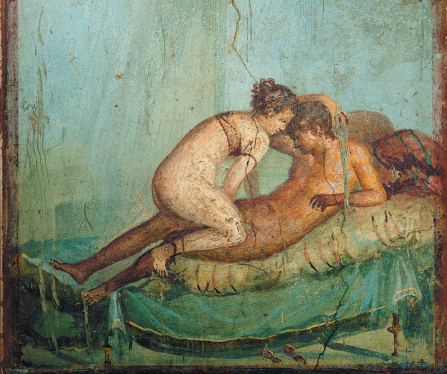 Detail of the Roman fresco from the bedroom (Cubiculum 43) in the Casa del Centenario .