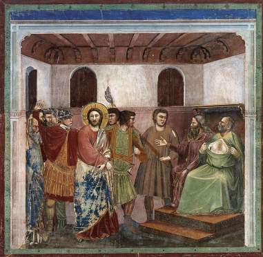 Giotto's (c. 1304) Christ before Caiaphas - at the Cappella Scrovegni in Padua, Italy.