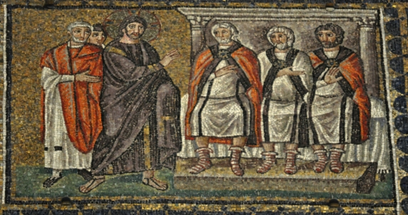 Jesus Before the Sanhedrin (Church of Sant'Apollinare Nuovo, Ravenna).