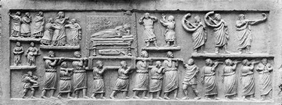 Relief of a Roman funeral procession. From Amiternum, 1st century CE. Museo Nazionale d'Abruzzo, L'Aquila, Italy.