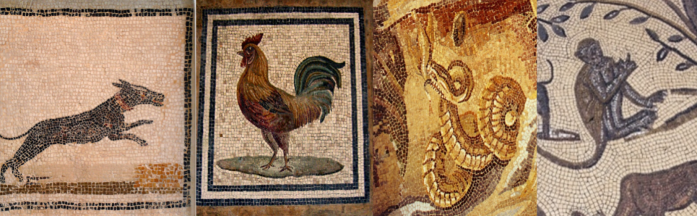 Roman mosaics of a dog (Sousse), a rooster (now at the Baths of Diocletian in Rome), a rock python (Palestrina Nilotic mosaic, Museo Nazionale Palestrina), and a monkey (Volubilis, House of Orpheus) [Images via Wikimedia].