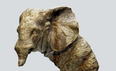 Bronze Roman war elephant now at the Staatliche Antikensammlungen in Munich (SL 50 1 via Wikimedia).