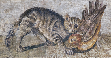 Mosaic with a striped cat capturing a bird from Rome's Palazzo Massimi alle Terme (Image via Wikimedia).