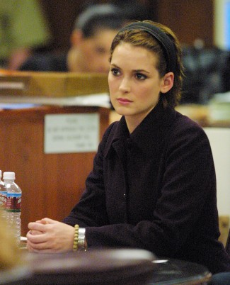 Winona Ryder listens to the verdict is read at the Beverly Hills Municipal Court during her shoplifting trial.