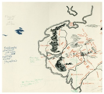Top left corner of the Tolkien map. (Photo from Blackwell's Rare Books, Via CityLab).
