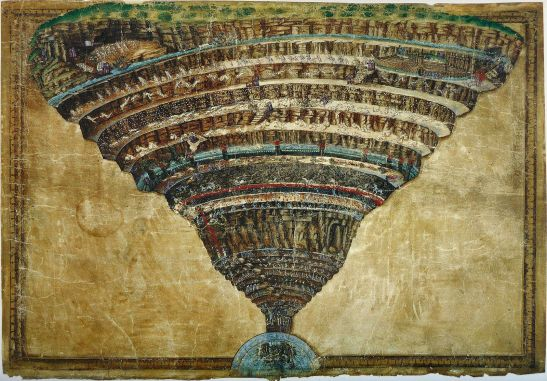 Sandro Botticelli's famous drawing (c.1480) of Dante's Inferno. (Image via Wikimedia).