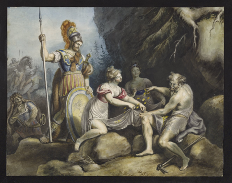 Timon of Athens, IV, 3, Timon giving gold pieces to Phrynia and Timandra by / J.H. Ramberg, 1829.