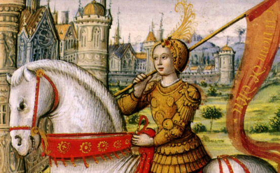 Joan of Arc depicted on horseback in an illustration from a 1505 manuscript (Image via Wikimedia).