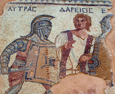 Mosaic depicting a gladiatorial fight. (Pic from the House of the Gladiators, Kourion, Cyprus).