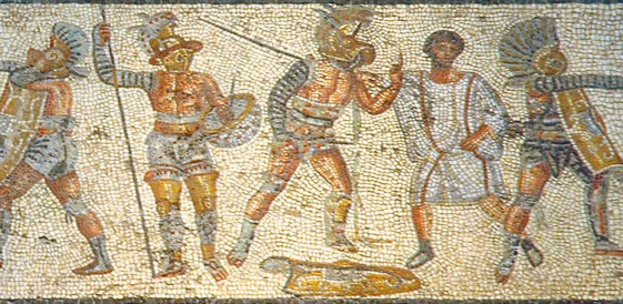 A gladiatorial referee stands between a murmillo and hoplomachus in the Zliten mosaic (2nd c. CE, Leptis Magna) [Image via Wikimedia]