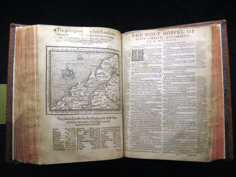 Map of the Holy Land from the Geneva Bible of 1560. Photo via Wikimedia.