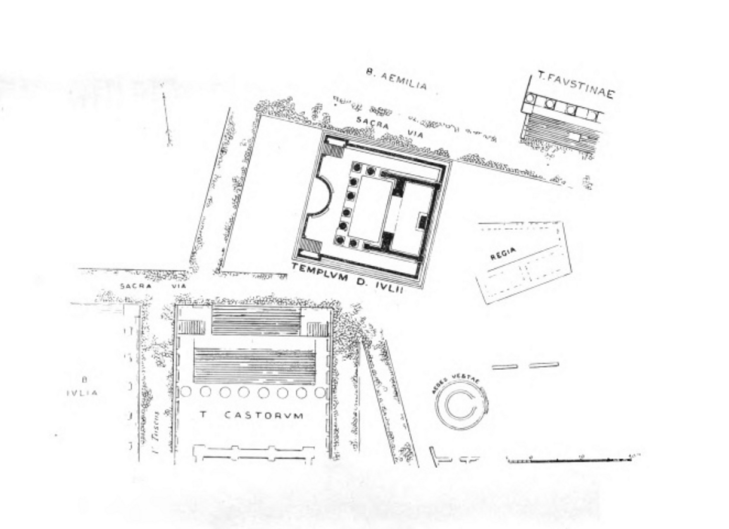 Aerial plan of ruins in the Roman Forum.