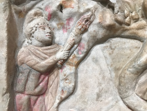 Polychromatic Mithras relief from the mithraeum in the Castra Peregrinorum in Rome (Baths of Diocletian, Rome).